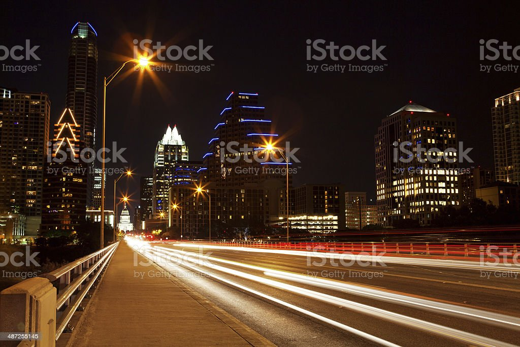 Evening in downtown Austin, Texas stock photo