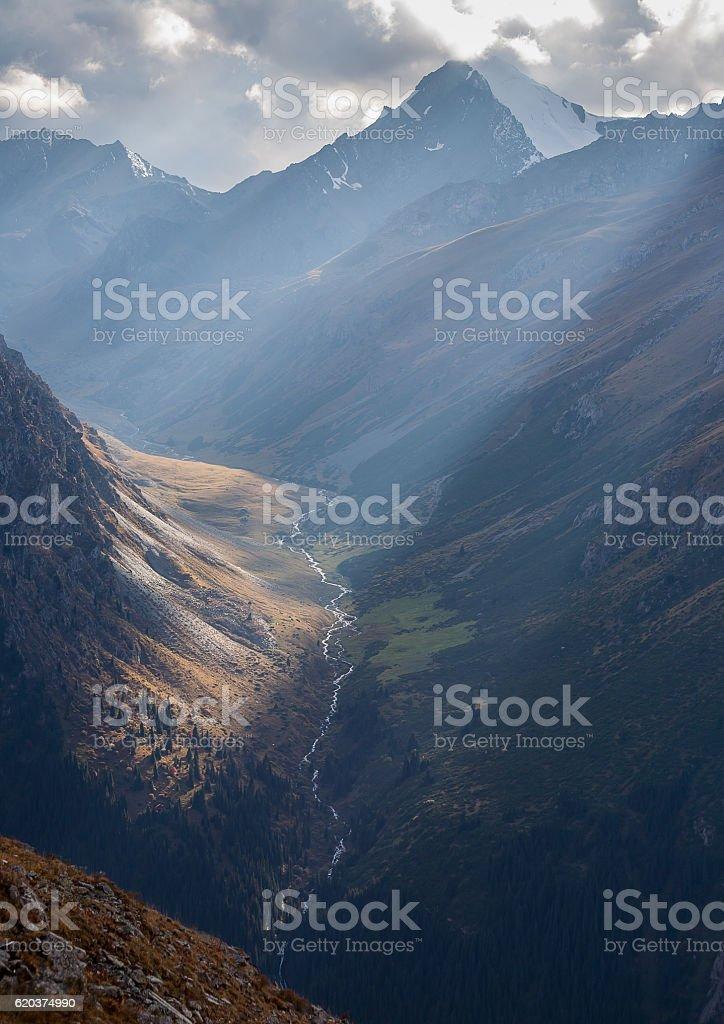 Evening in high mountains. zbiór zdjęć royalty-free