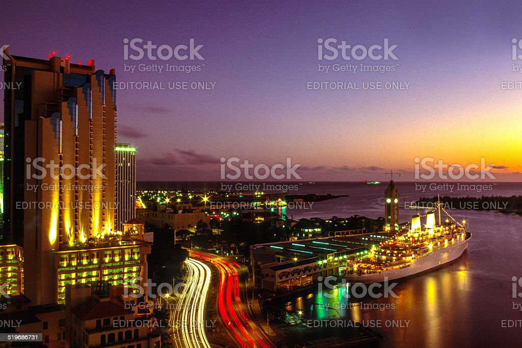 Evening in Honolulu, Hawaii stock photo