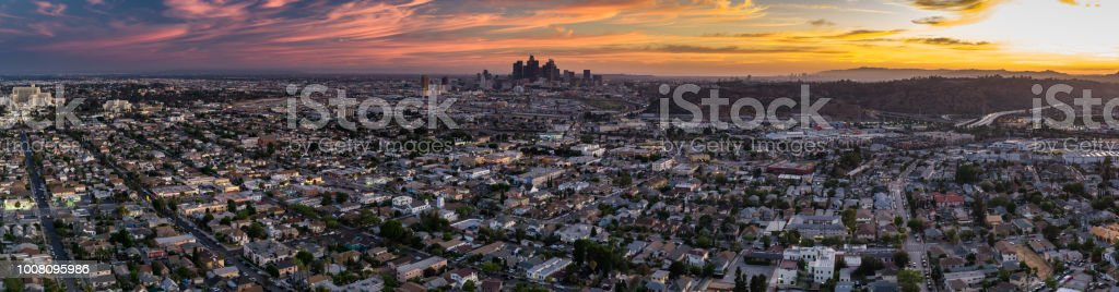 Evening in Los Angeles - Aerial Panorama stock photo