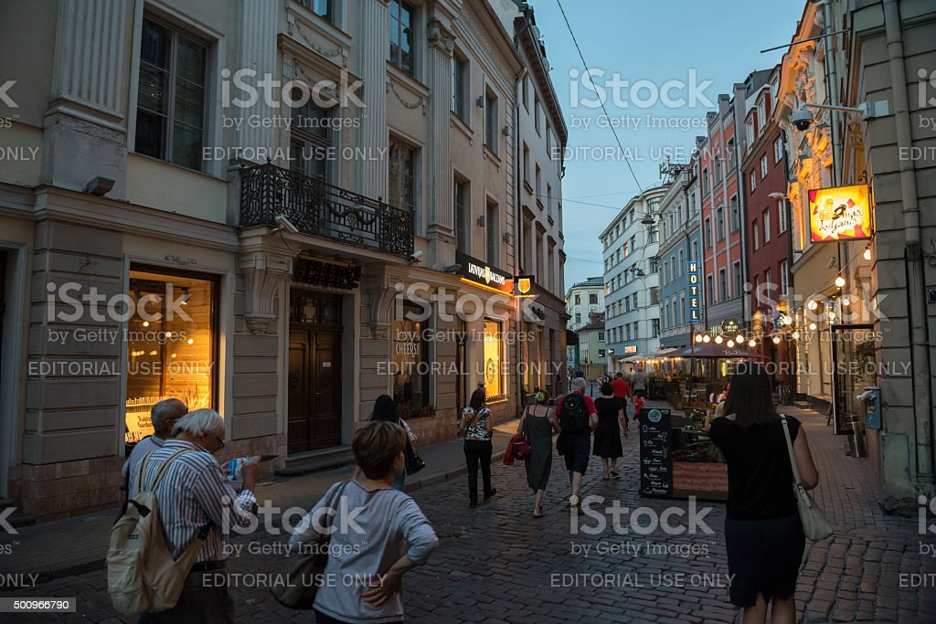 Evening in Riga old town, Latvia stock photo