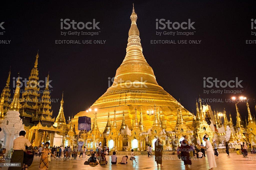 Evening in Shwe Dagon Pagoda Yangon royalty-free stock photo