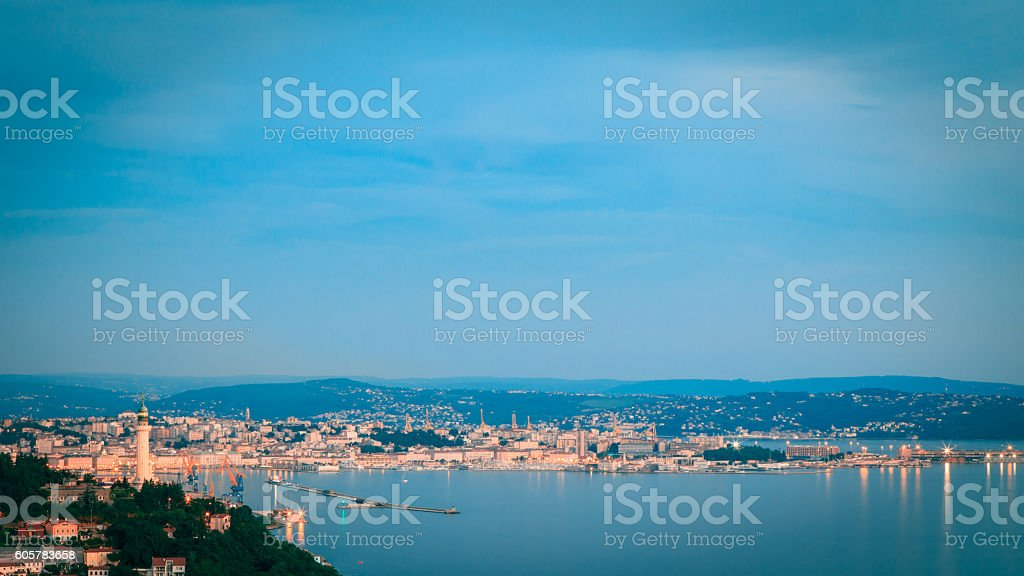 evening in the gulf of Trieste stock photo