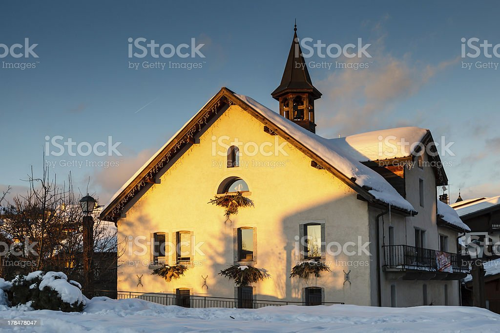 Evening in the Village of Megeve, French Alps, France royalty-free stock photo