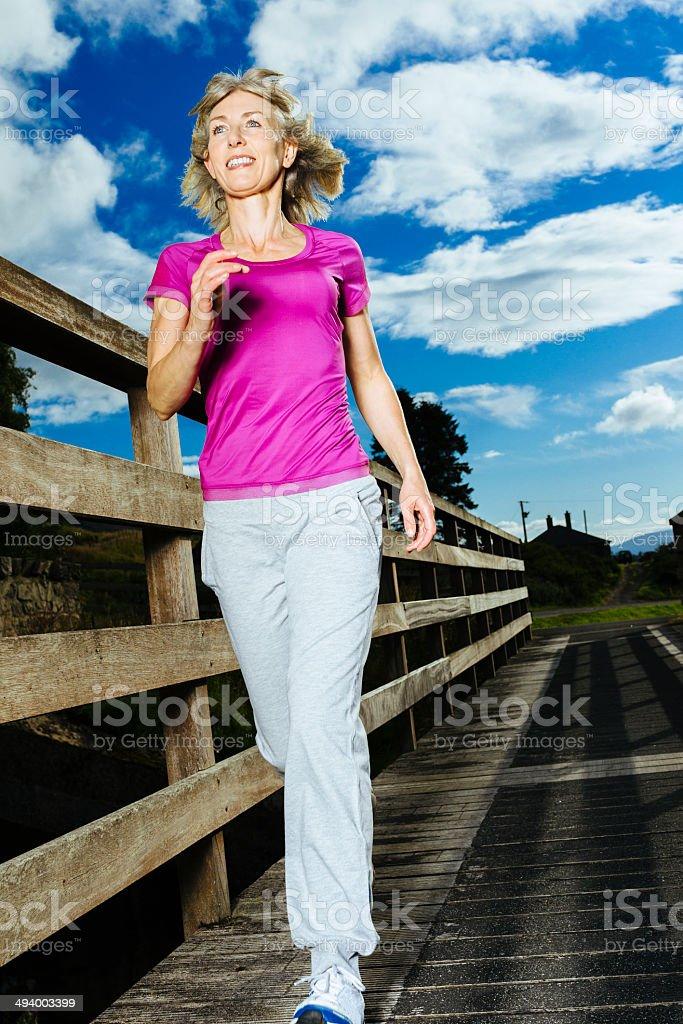 Evening jog stock photo