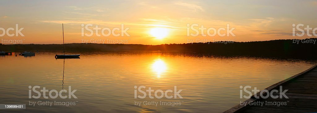 evening lake - panoramic view royalty-free stock photo
