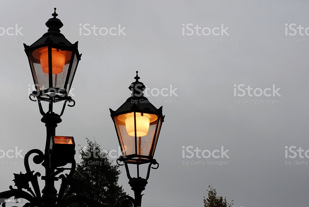 Evening lamps with light royalty-free stock photo