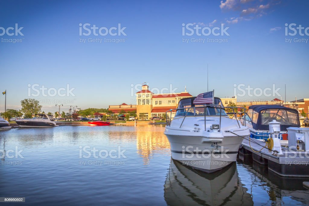 Evening landscape. Boats on the lake Ontario. Rochester, USA stock photo
