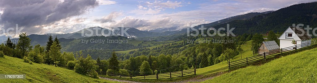 Evening landscape in the mountains stock photo