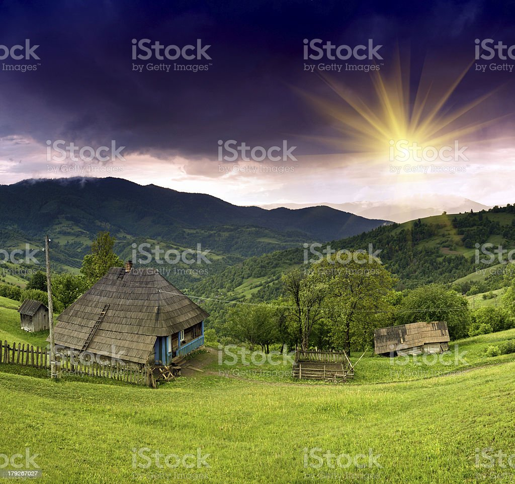Evening landscape in the mountains. Ukraine. royalty-free stock photo