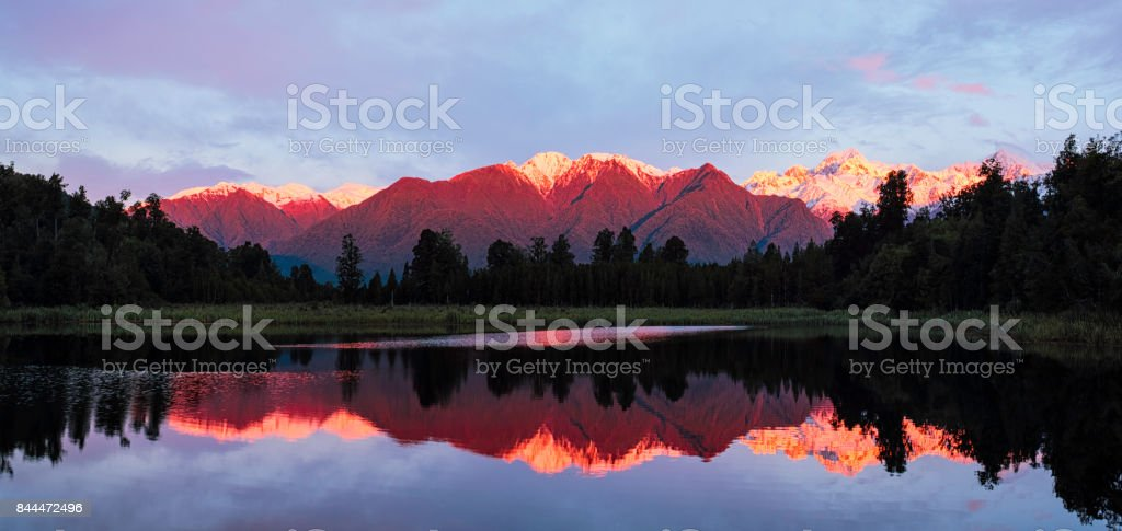 Evening Light At Lake Matheson In New Zealand stock photo