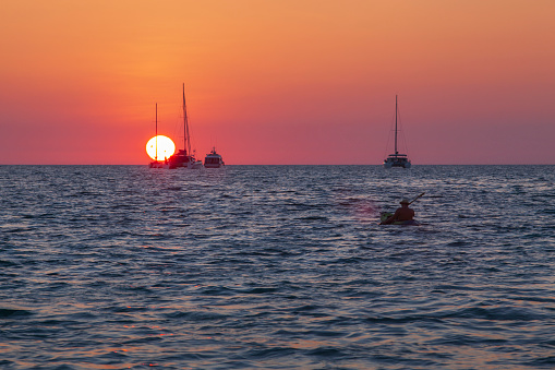 Evening light at sunset beach with sailing boat at Lipe Island in Satun Thailand