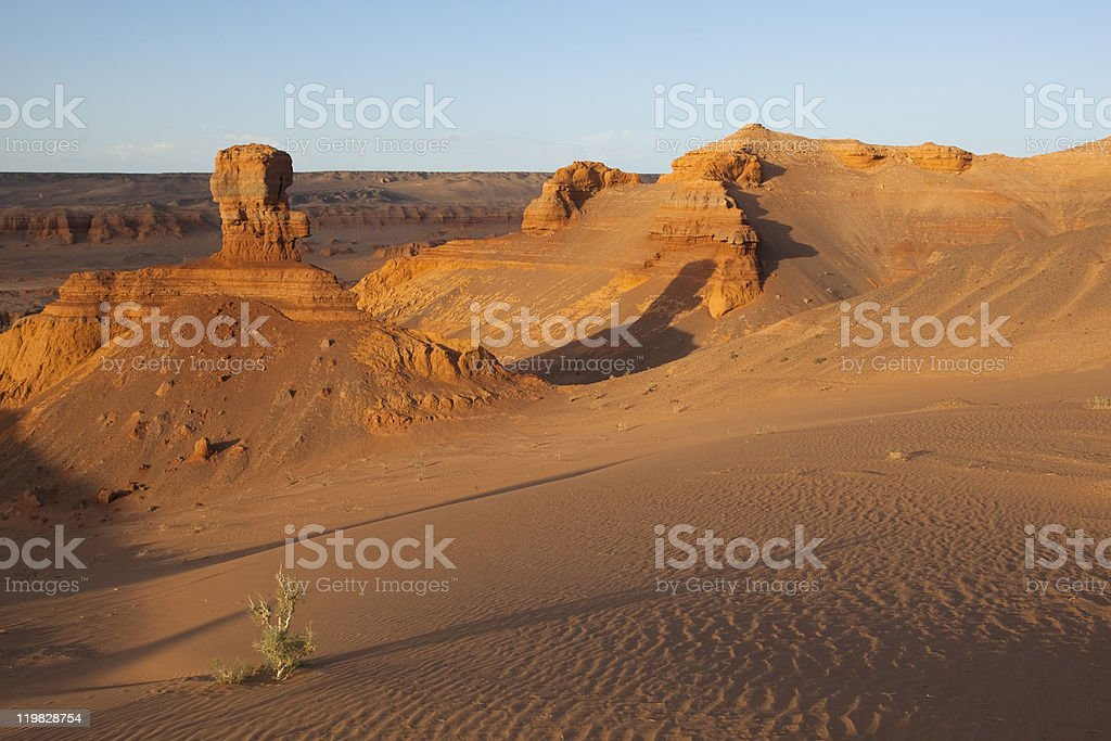Evening light in Gobi stock photo