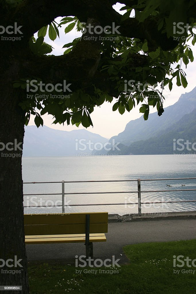 Evening light on lake Brienz royalty-free stock photo