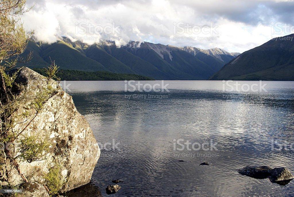 Evening Light on Lake Rotoiti, Nelson Lakes National Park, NZ royalty-free stock photo