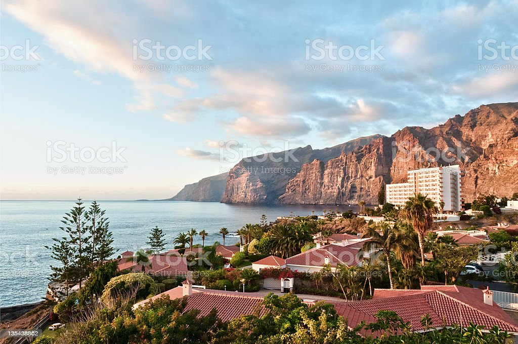 Evening light on Los Gigantes, Tenerife stock photo