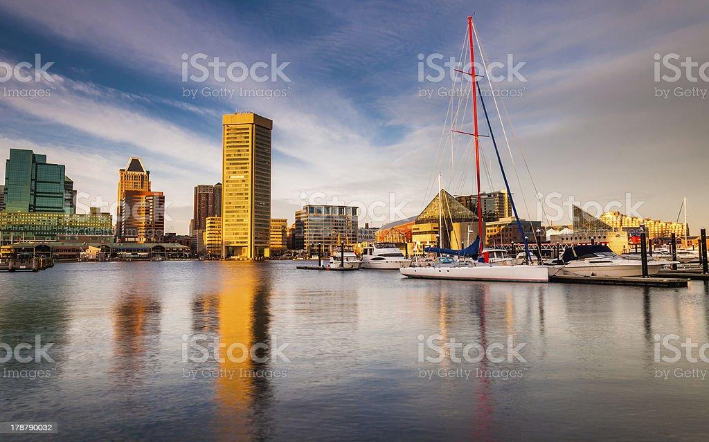 Evening light on the Inner Harbor, Baltimore, Maryland stock photo