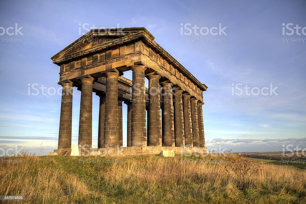 Evening Light on the Penshaw Monument, Sunderland stock photo