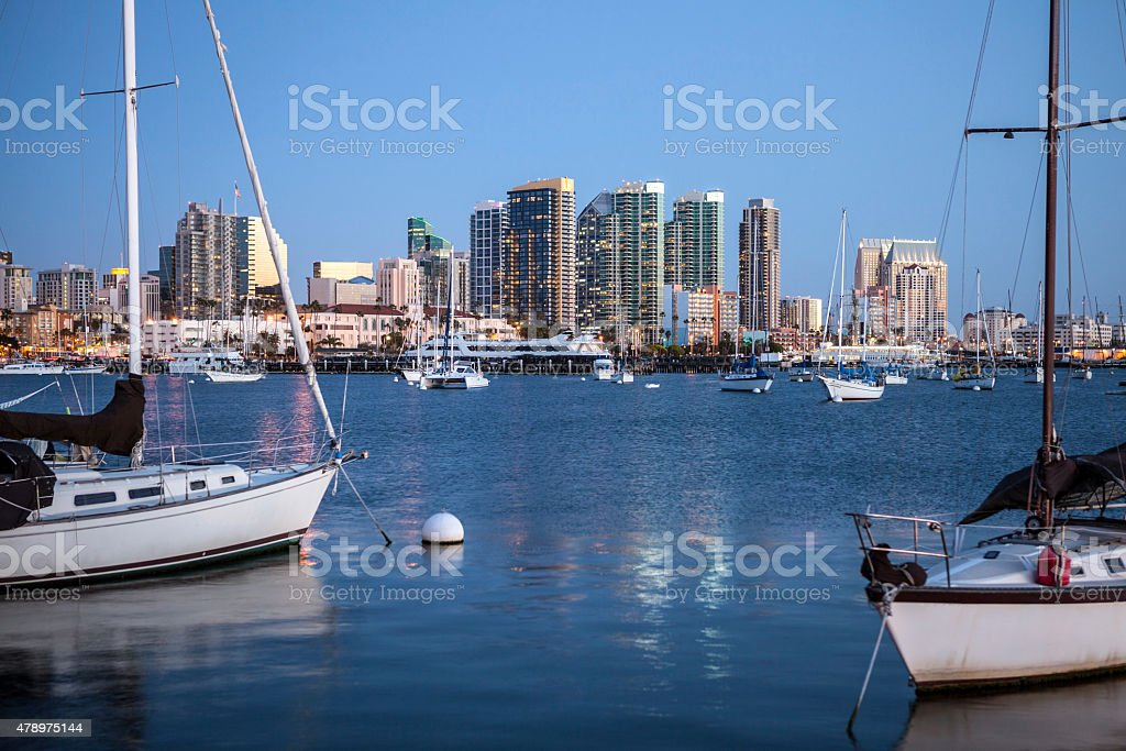 Evening light over San Diego Bay stock photo