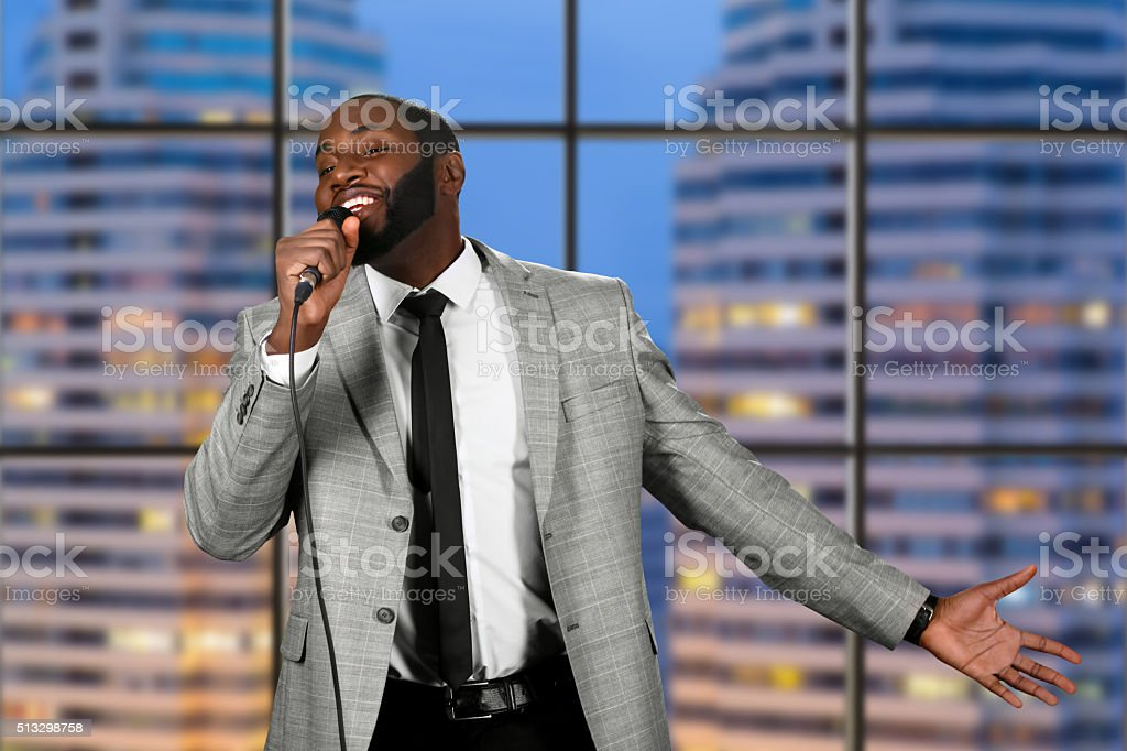 Evening live performance on television. stock photo