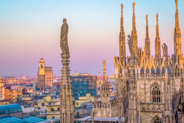 evening milan, view of the city from the terrace of the duomo - milano foto e immagini stock