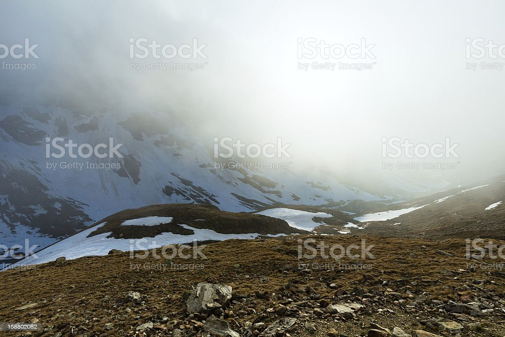 Evening misty mountain view (Timmelsjoch, Austria ) royalty-free stock photo