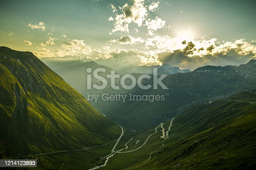 istock Evening mood on Furka high mountain pass with beautiful views on Alps 1214123893