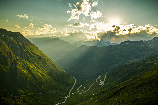 Evening mood on Furka high mountain pass with beautiful views on surrounding Swiss Alps