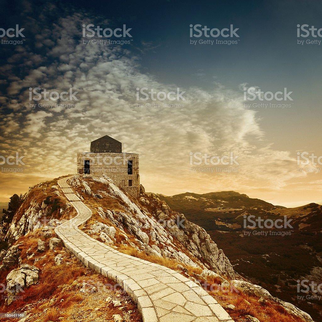 Evening mountain landscape stock photo