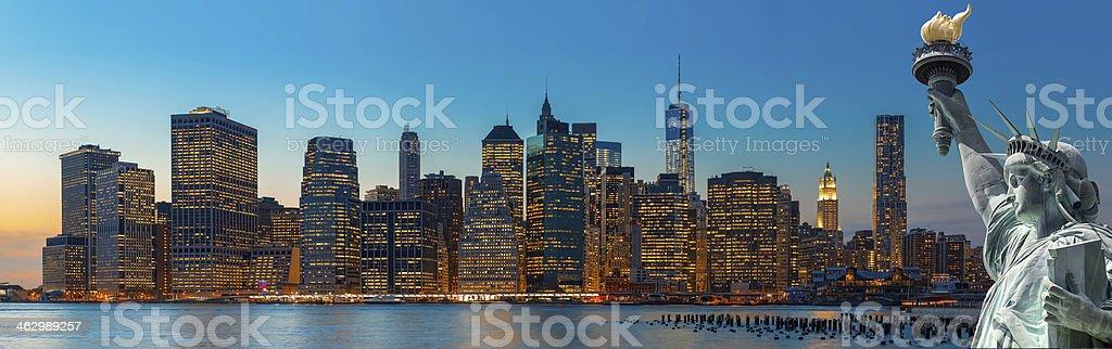 Evening New York City skyline panorama stock photo