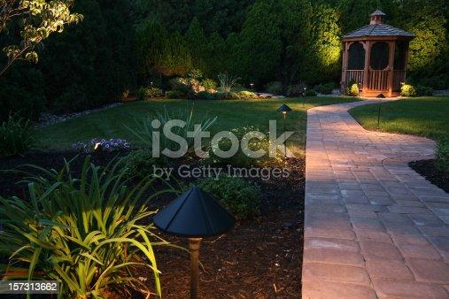 dusk in the landscaped garden