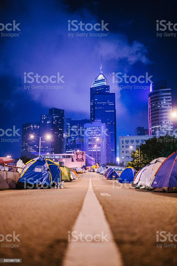 Evening, Occupy Hong Kong, Hong Kong stock photo