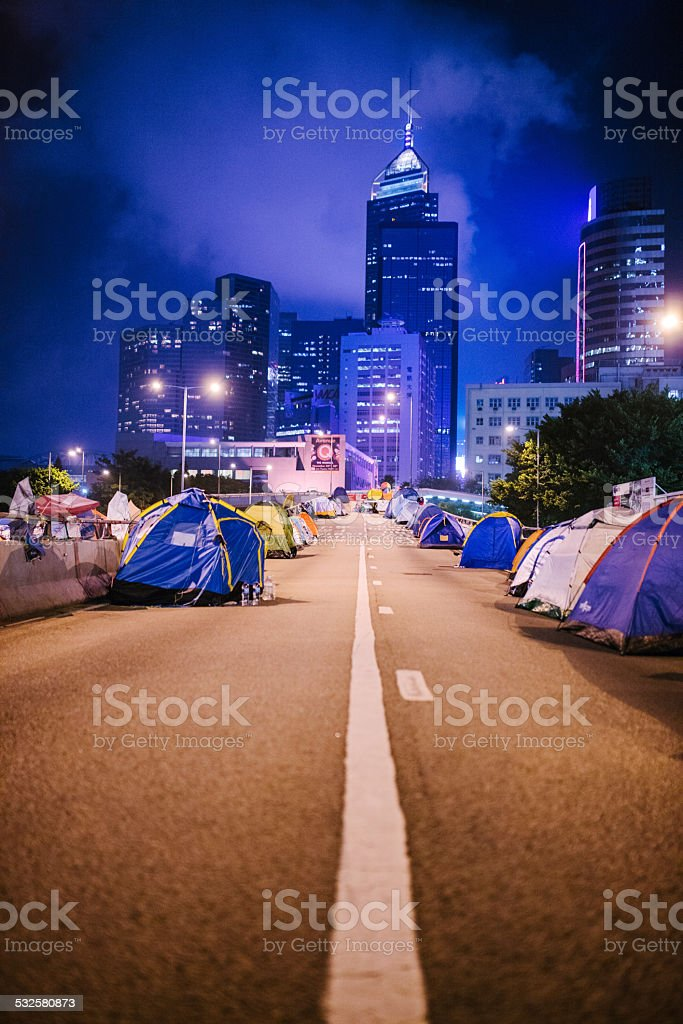 Evening, Occupy Hong Kong, Hong Kong stock photo