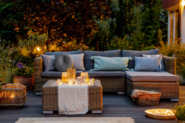 Evening on a terrace Cozy autumn evening on a modern designed terrace lawn stock pictures, royalty-free photos & images
