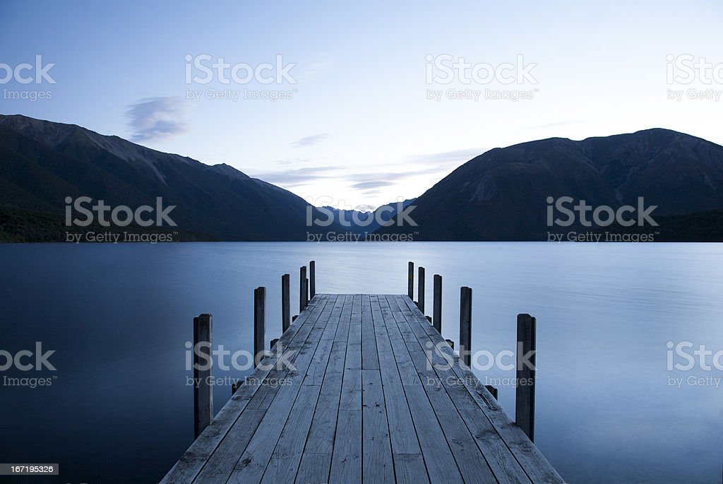 Evening on Lake Rotoiti, Nelson Lakes National Park, NZ stock photo