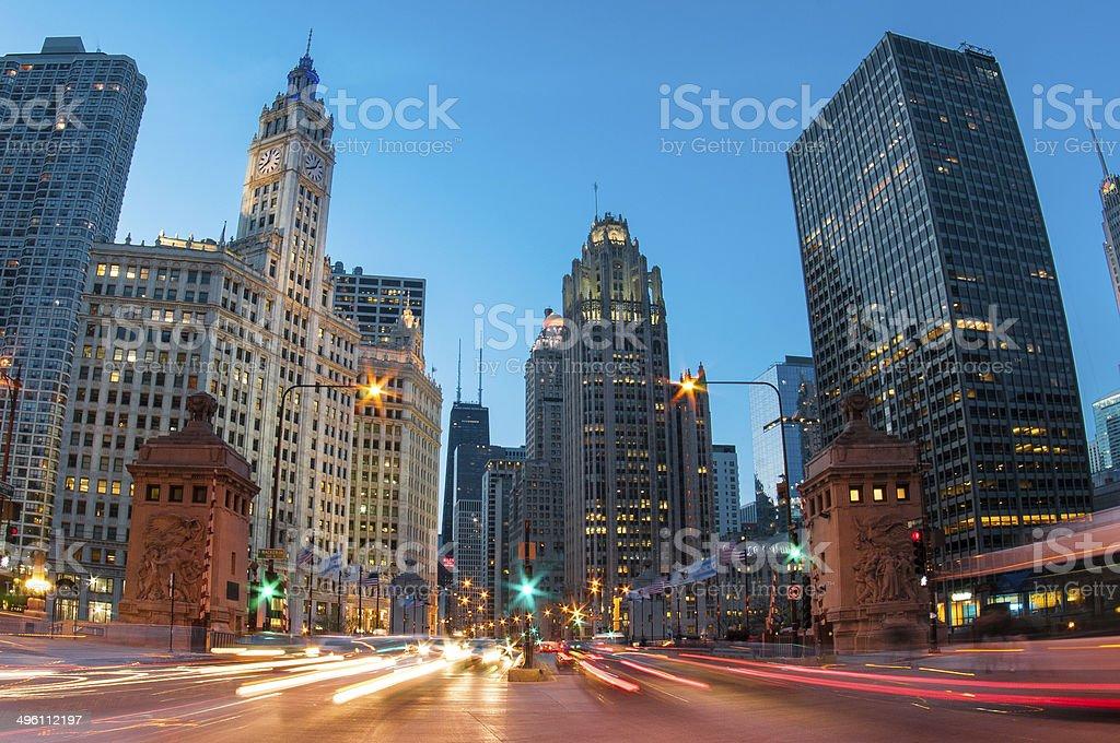 Evening on Michigan Avenue stock photo