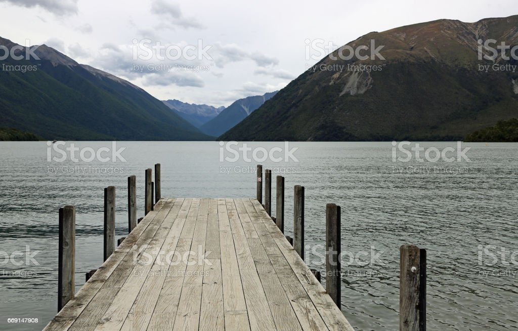 Evening on Rotoiti Lake stock photo