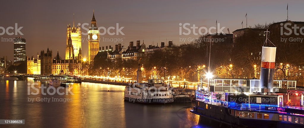 Evening on the Thames, looking towards Big Ben royalty-free stock photo
