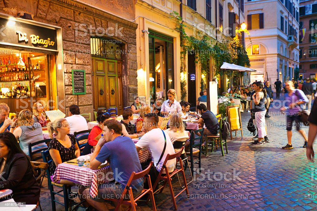 Evening Outdoor Street Restaurants Night Life of Rome stock photo