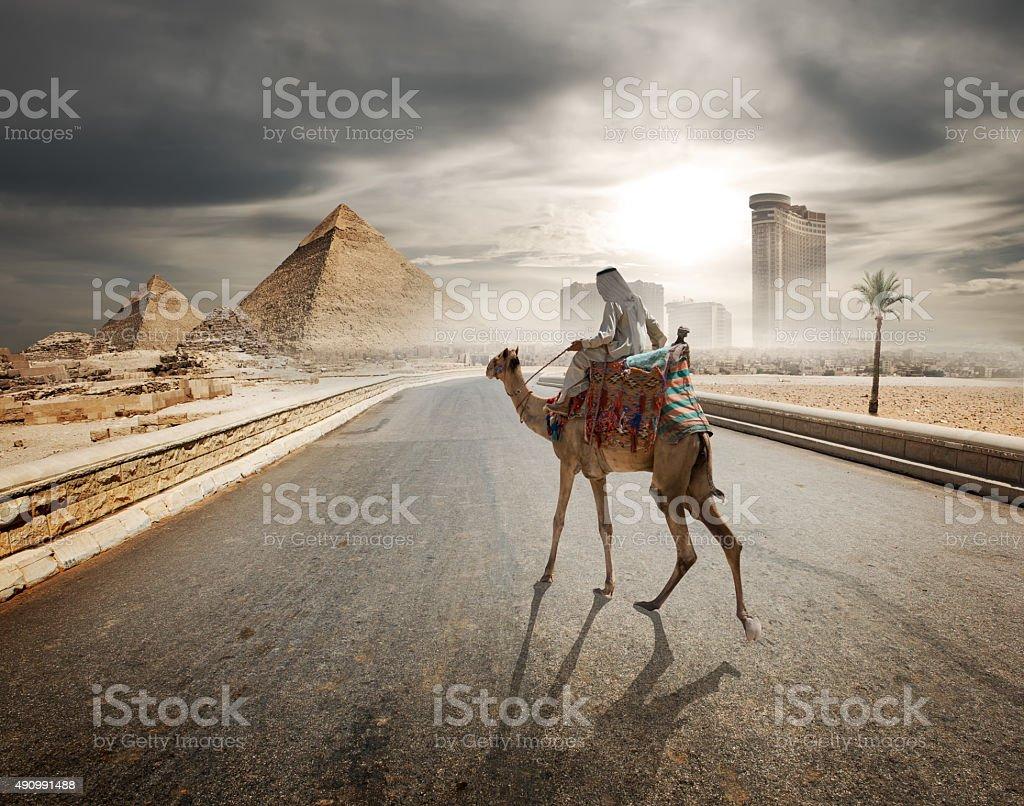 Evening over pyramids stock photo