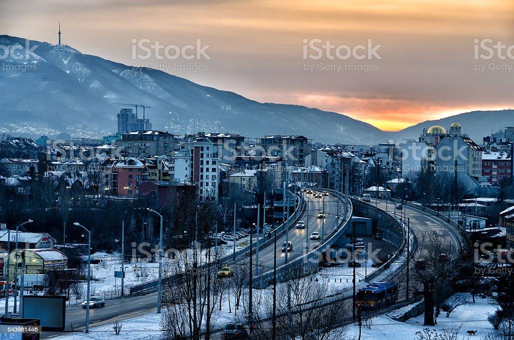 Evening over Sofia city stock photo