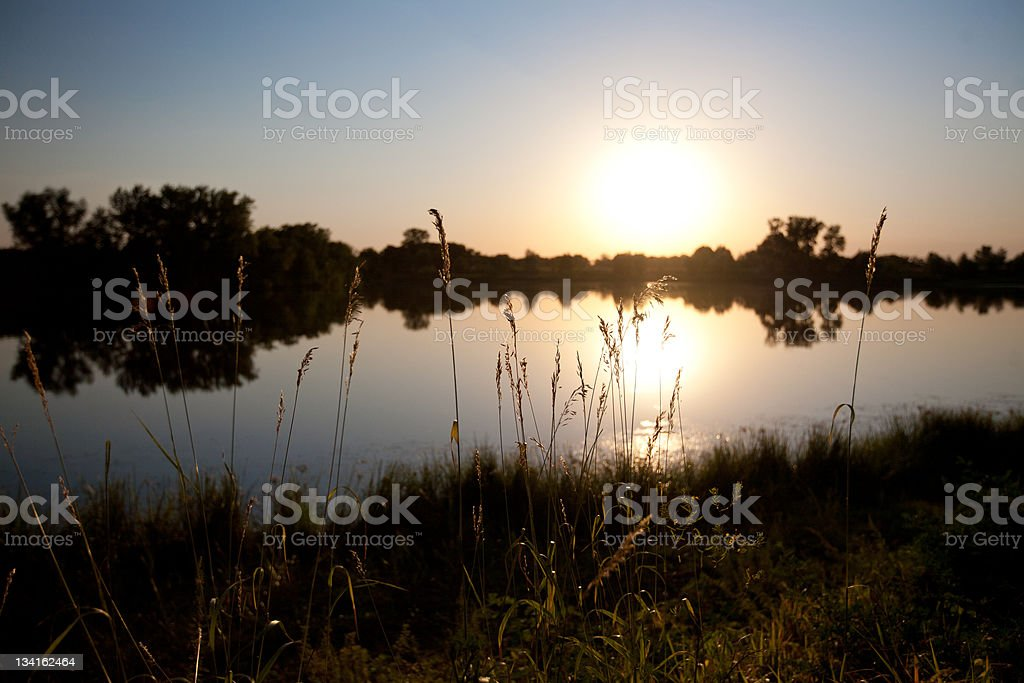 evening over the river royalty-free stock photo