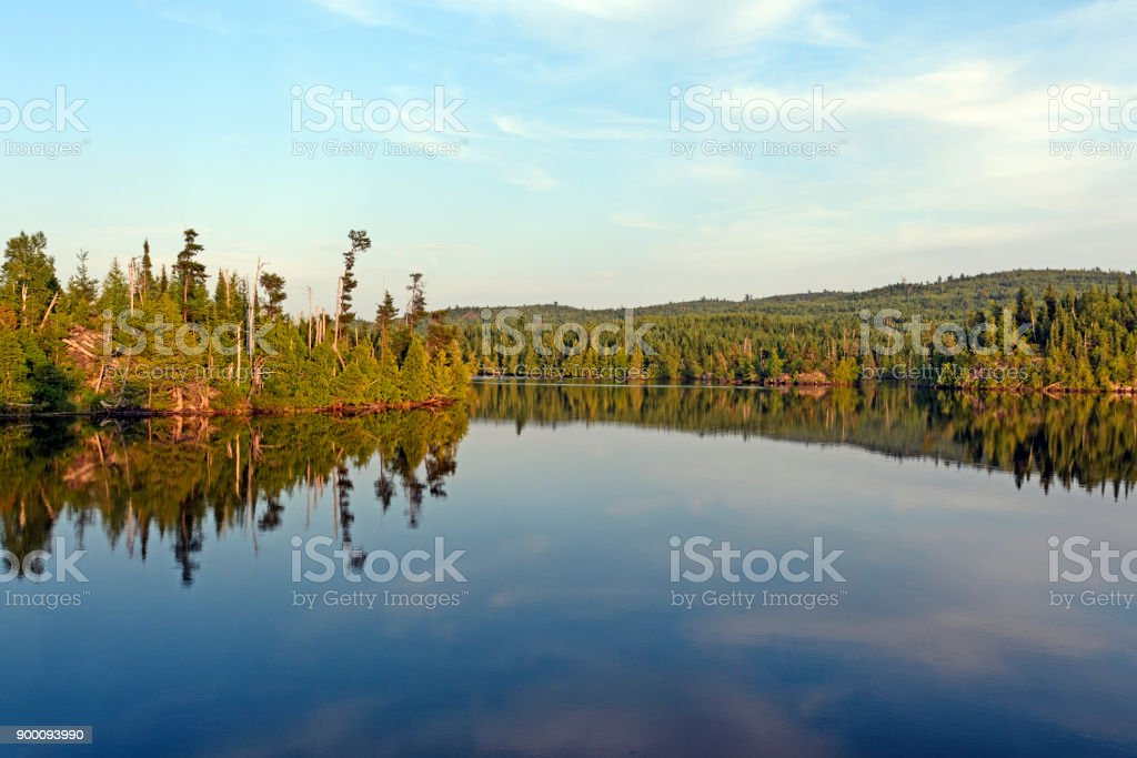 Evening Panorama in the North Woods stock photo