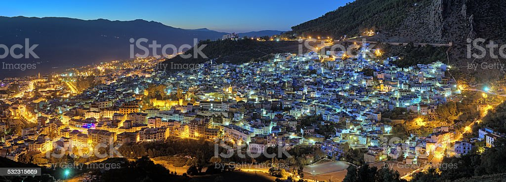 Evening panorama of Chefchaouen, Morocco stock photo