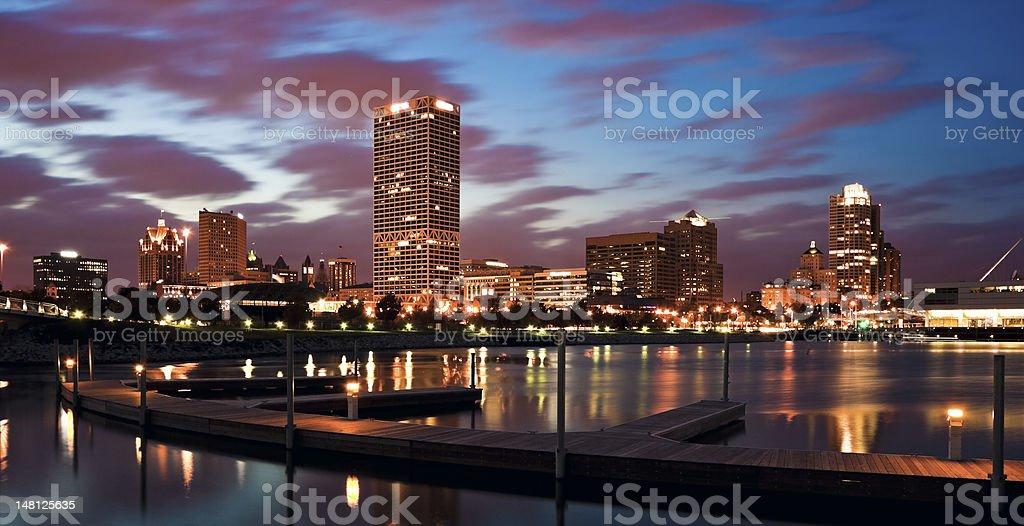 Evening Panorama of Milwaukee stock photo