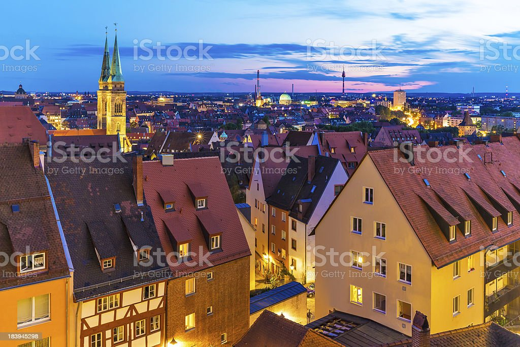 Evening panorama of Nuremberg, Germany stock photo