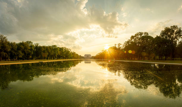 Evening Panorama of the Lincoln Memorial with the reflecting pool stock photo