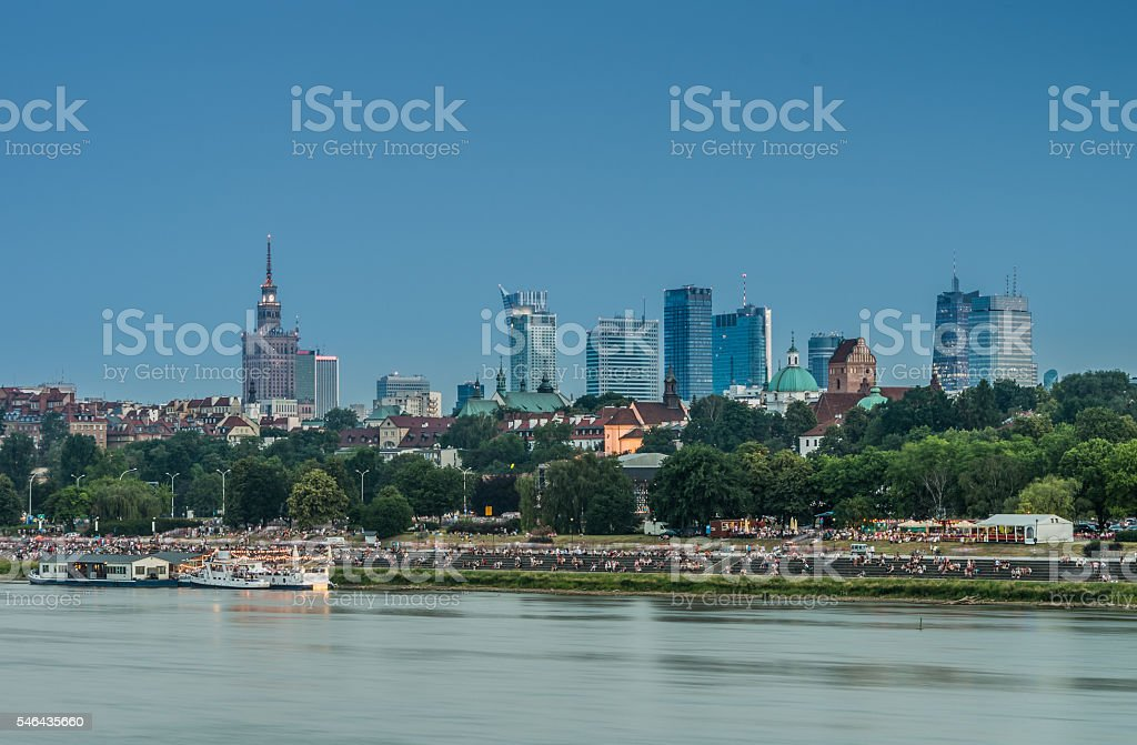 Evening panorama of Warsaw waterfront and downtown skyline stock photo