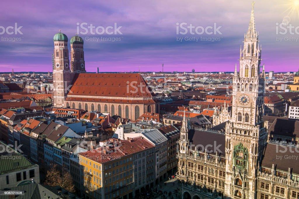 Evening panoramic cityscape dowtown of Munich at sunset, Bavaria stock photo