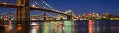 Brooklyn, NY, USA - June 01, 2017: Evening panoramic view of Brooklyn Riverfront with Manhattan Bridge and the Brooklyn Bridge. The view includes Main Street Park, Brooklyn Bridge Park, East River and the newly renovated Brooklyn waterfront. Dumbo, New York City